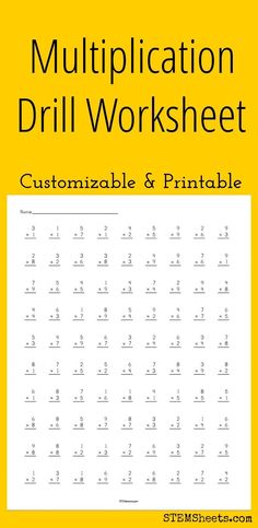 Multiplication Drill Worksheet - Customizable and Printable - Mathe Ideen 2020 Multiplication Drills, Math Drills, Multiplication Table Printable, Free Printable Multiplication Worksheets, Multiplication And Division Worksheets, Math For Kids, Fun Math, Math Resources, Math Activities