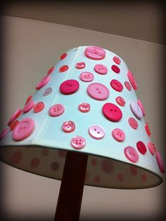 Button lamp shade cream lamp shade pink buttons by DitsyButtonLove