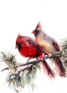 Birds Watercolor Paintnig, Original Painting of Cardinal Birds Couple, Northern Cardinal, Bird Art by CanotStop on Etsy