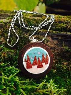 Brown Mountain Lights necklace--upcycled wine cork painting by quarkcorks on Etsy