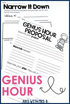 I LOVE GENIUS HOUR! These pages really help students get organized while researching their projects! It works great for implementing Genius Hour in the elementary classroom and getting students started with their amazing ideas!