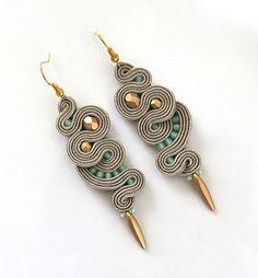 Beige gold earrings soutache earrings long earrings by sutaszula