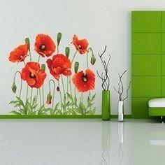 Beautiful Poppies Flowers Wall Stickers Mural art Decal Vinyl Wallpaper Decor