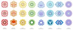 """CHAKRA SYMBOLS - This set of the free chakra symbols also includes Adobe Illustrator, SVG, and PNG files. The chakras are """"force centers"""" or centers of energy permeating, from a point on the physical body, the layers of the subtle bodies in an ever-increasing fan-shaped formation."""