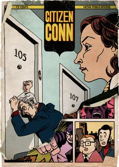 The illustration accompanying 'Citizen Conn', a Michael Chabon short story about comics, in a recent New Yorker. Michael Chabon, Jack Kirby, Stan Lee, Silver Age, Arts And Entertainment, The New Yorker, Short Stories, Citizen, Comics