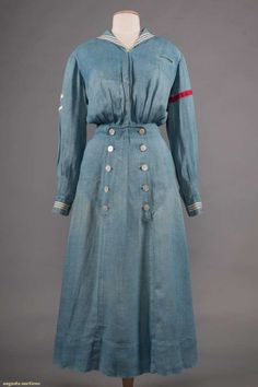 Nautical blue chambray one-piece dress One-piece dress, skirt with back laces, white or red trim bands, embroidered eagles and stars, Bust Waist Length Edwardian Gowns, Edwardian Clothing, Antique Clothing, Historical Clothing, 1900s Fashion, Edwardian Fashion, Vintage Fashion, Old Dresses, Vintage Dresses