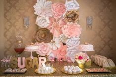 backdrop - paper flowers - Pink + Gold Themed Birthday Party