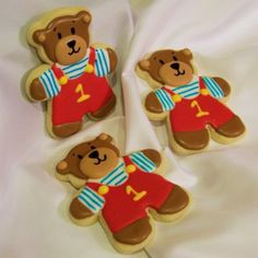 Very cute bear cookies with number 1 (one)