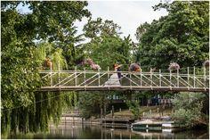 Bride and Groom on the bridge at Monkey Island