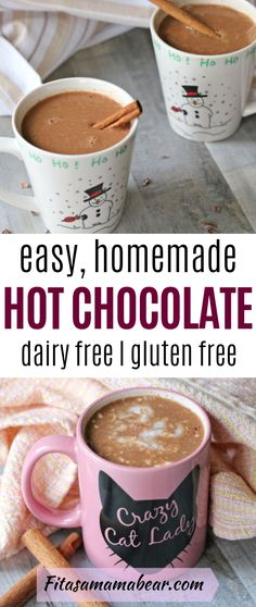 Homemade dairy free hot chocolate, a tasty recipe for a cold nights. This health… Homemade dairy free hot chocolate, a tasty recipe for a cold nights. This healthy chocolate vegan drink is sweetened with maple syrup Hot Chocolate Recipe Dairy Free, Healthy Hot Chocolate, Hot Cocoa Recipe, Homemade Hot Chocolate, Hot Chocolate Recipes, Chocolate Smoothies, Chocolate Mix, Dairy Free Sugar Cookies, Dairy Free Frosting