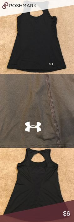 Under Armour work out tank. Black workout tank. No tag, but it is a size small. The stitching on the back is slightly coming apart, easy fix if you know how to sew. Other than that it's in good condition. Under Armour Tops Tank Tops