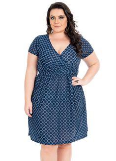 Vestido (Azul) Decote V Plus Size Cobertura