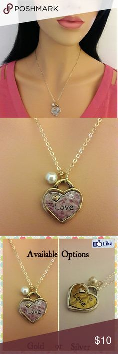 Love Pendant Necklace Beautiful faux pearl and stylish heart pendant with LOVE engraved onto it comes with a 2.5mm rolo chain. There is also a rhinestone embedded in the heart for an extra sparkle!  This beautiful pendant makes a great gift on any occasion for yourself or loved one.  Options; Select the GOLD necklace with silver heart or SILVER necklace with gold heart.  * Rhodium Plated * Lead and Nickel Compliant  * Imported Celina Nicole Luxe Fashion Jewelry  Jewelry Necklaces