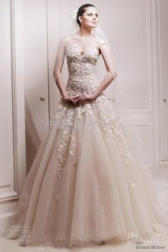 Wholesale Hot Zuhair Murad Applique Wedding Dress Champagne A Line Tulle Bateau Court Train Ruffle Cap Sleeve, Free shipping, $165.76-179.2/Piece | DHgate