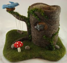 needle felted tree stump