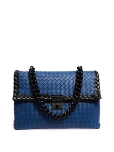 Bottega Veneta Bicolour Intrecciato Leather Shoulder Bag in Blue - Lyst d41168ad47c47