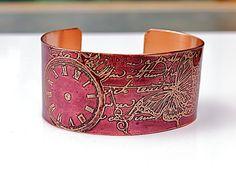 """Time Cuff Bracelet  ETCHED COPPER  1.25"""" wide  Burgundy Butterfly Handmade Joann Hayssen sra, $35.00"""