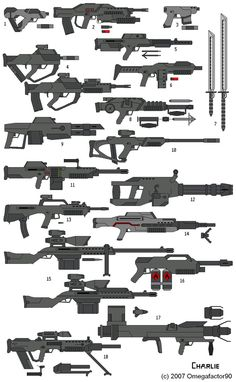 guns 2 by on DeviantArt Anime Weapons, Sci Fi Weapons, Weapon Concept Art, Fantasy Weapons, Weapons Guns, Future Weapons, Sword Design, Drawing Reference Poses, Cool Guns