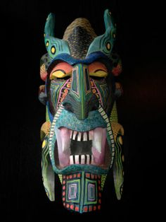 Large Costa Rican Boruca or Brunka or Brunca Carved Painted Mask | eBay