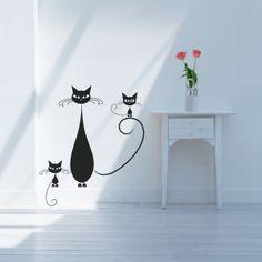 Bonito vinilo decorativo con las siluetas de unos gatos con mucho estilo. Masquevinilo.com
