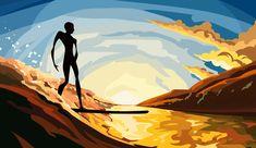 #illustracion #ilustracion #colores #colors #surf #surfer #ocean #oceano #sea #wave #ola #surfer #sunset #atardecer #beach Surf, Disney Characters, Fictional Characters, Paradise, Disney Princess, Illustration, Prints, Movies, Movie Posters