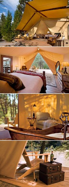 The Resort at Paws Up - Montana, tango point honeymoon tent with en suit master bathroom... Yes please