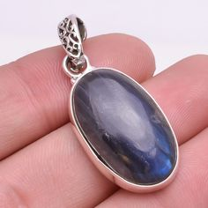 925 Solid Sterling Silver Pendant, Natural Labradorite Handmade Jewelry P264 #Handmade #Pendant