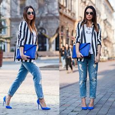 Love this outfit - White Tee with Print, White Blazer with Vertical Black Stripes, Distressed Boy Friend Jeans, Cobalt Blue Envelope Purse and Stilettos. Finish off the look with accessories. Blue Shoes Outfit, Striped Blazer Outfit, Striped Jacket, Blazer Outfits, Blazer Fashion, Casual Outfits, Fashion Outfits, Casual Clothes, Summer Clothes