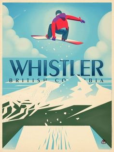 Vintage-style Whistler travel poster