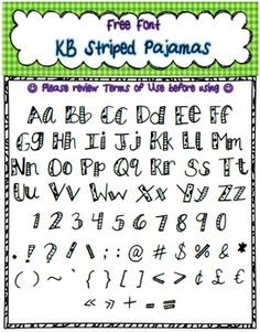 Free Font - Search Results - TeachersPayTeachers - Pic of: Personal or Commercial Use: KB StripedPajamas