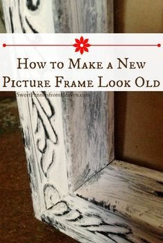 DIY Distressed Picture Frame - How to Make a New Frame Look Old with a simple light paint and dry brush effect. Easy Peasy! more info read here : http://cardboardphotoframes.net/