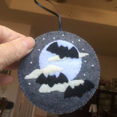Excited to share this item from my shop: LYNN: Felt Halloween ornament, bats flying in the moonlight on a misty evening. Halloween Party Games, Halloween School Treats, Fairy Halloween Costumes, Halloween Party Supplies, Halloween Bats, Halloween Celebration, Felt Halloween Ornaments, Felt Ornaments, Felt Decorations