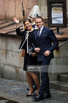 Crown Princess Victoria and Prince Daniel of Sweden depart after attending service at the Church of St. Nicholas  in connection with the opening of the parliamentary session on September 15, 2015 in Stockholm, Sweden. (Photo by Michael Campanella/Getty Images)
