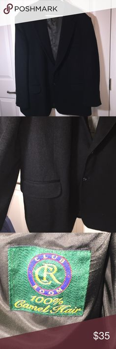 """Macy's Club Room Camel Hair Jacket Blazer 48R blk Gorgeous black Macy's Club Room 100% camel hair Men's suit jacket. Can be used as a blazer. Size 48R. Nice material like a wool coat. GOod pre-owned condition. 2 faux pockets on front. 2 small inside pockets. Still has a lot of wear in it.Laying flat pit-to-pit measures approx. 26"""". Length from top to bottom is approx. 35"""". Club Room Suits & Blazers Sport Coats & Blazers"""