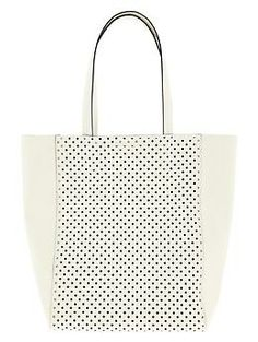 White leather Ashbury Perforated Tote from Banana Republic. The perfect summer cary-all