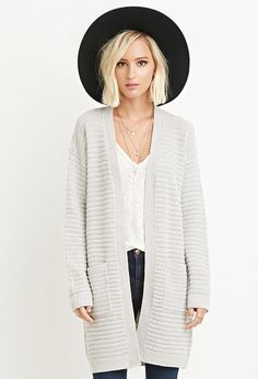 Textured Open-Front Cardigan | Forever 21 - 2000161483