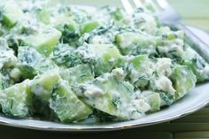 Cucumber and Yogurt Salad Recipe with Feta and Dill from Kalyn's Kitchen  #SouthBeachDietRecipes  #LowGlycemicRecipes