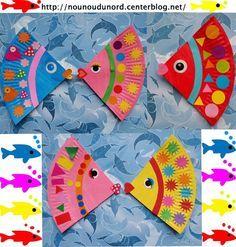 Bientôt le 1er avril les enfants Soline et Gaspard ont préparé leurs jolis poissons exotiques qu'ils ont réalisé avec un quart d'un assiette en carton et des gommettes. d'autres modèles de poissons ; ...