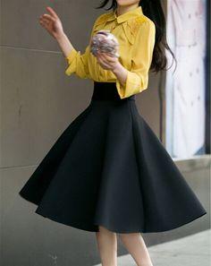 High Waist Pleat Elegant Skirt Green Black White Knee-Length Flared Skirts  Fashion Women Faldas