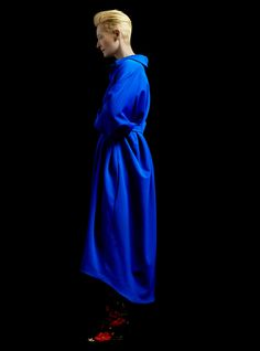 .Tilda Swinton in Blue, so beautiful.