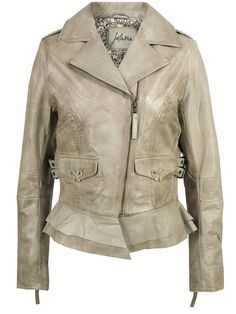 Jofama Caren Off White Leather Biker Jacket
