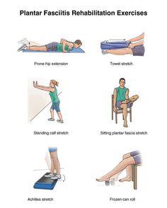 Oefeningen voor plantaire fasciitis (ontsteking van de fascia aan de onderkant van de voet) en hielspoor (verkalking of verbening van de aanhechting van de fascie aan het hielbeen).