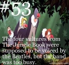 Disney Fun Fact The four vultures from The Jungle Book were originally supposed to be voiced by The Beatles, but the band was too busy Disney Fun Facts, Disney Memes, Disney Quotes, Disney Trivia, Jelsa, Disney Love, Disney Magic, Disney Stuff, Disney Ideas