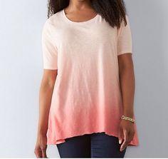 b82817ac0ff5f Sonoma Women s Plus Sz 2X Elbow Sleeve Coral Dip Dye Top Swing Tee T Shirt  NWT