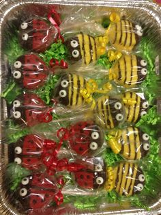 Lady bug and bumble bee oreo lollipops.... Golden oreo cookie dipped in vanilla with chocolate mint and edible eyes.... candy that is easy on the eyes and better in the tummy..... email: mailto:nubiansnoo... or visit my facebook page: www.facebook.com/... with inquiries about your next custom event.