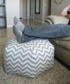 """24"""" Pouf Ottoman Floor Pillow Grey White Zig Zag Chevron. $110.00, via Etsy."""