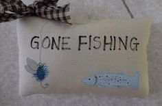 Primitive GONE FISHING Pillow Tuck Folk Art Fish & Lure Wallhanging Gift for Him #NaivePrimitive #auntiemeowsatticprims