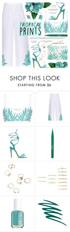 """The Tosca Palm Trees"" by noviii ❤ liked on Polyvore featuring Mara Hoffman, Stila, Forever 21, Essie, tropicalprints and hottropics"