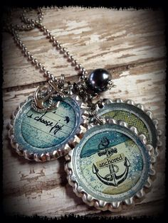 "Anchored"" Theme Bottle Cap Message Necklace by bluedivacreations on Etsy"