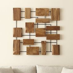 "Marcel Teak Wall Art | Crate and Barrel - 38.75""square - $299 (less 15% is $254.15)"